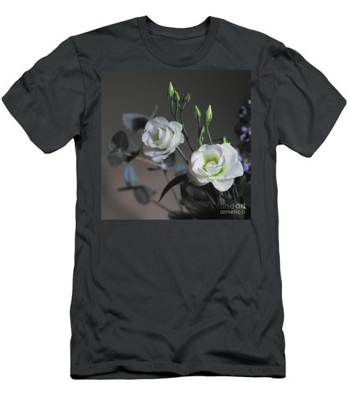 Men's T-Shirt (Athletic Fit) featuring the photograph Two White Roses by Jeremy Hayden