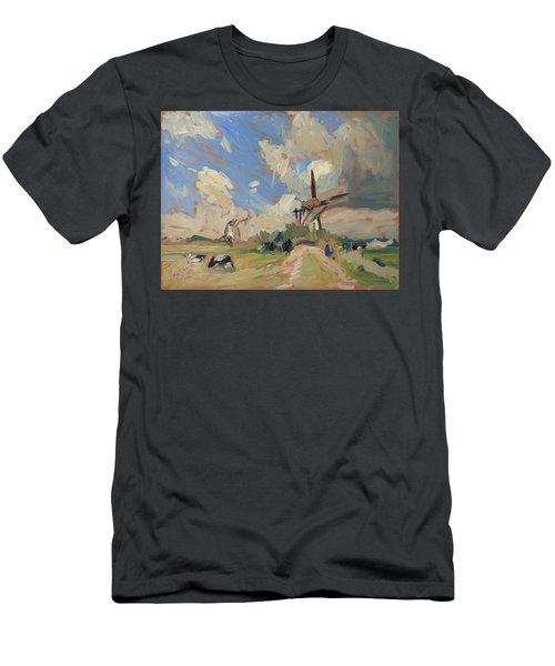 Two Windmills Men's T-Shirt (Slim Fit) by Nop Briex