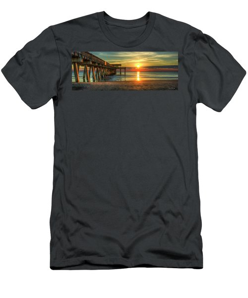 Men's T-Shirt (Athletic Fit) featuring the photograph Tybee Pier Panorama Sunrise Art by Reid Callaway