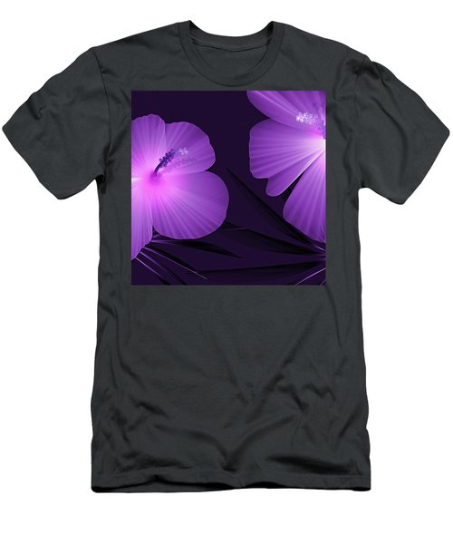Ultraviolet Hibiscus Tropical Nature Print  Men's T-Shirt (Athletic Fit)