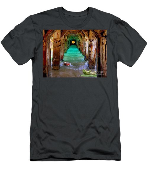 Men's T-Shirt (Slim Fit) featuring the painting Under The Broadwalk by Mojo Mendiola