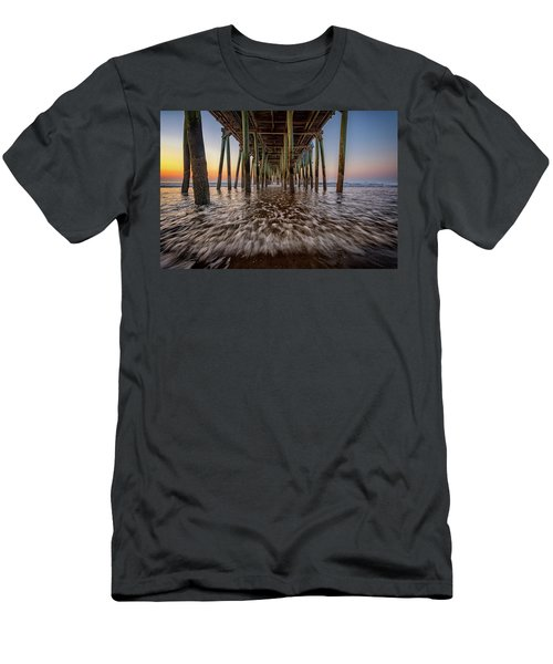 Men's T-Shirt (Athletic Fit) featuring the photograph Under The Pier At Old Orchard Beach by Rick Berk