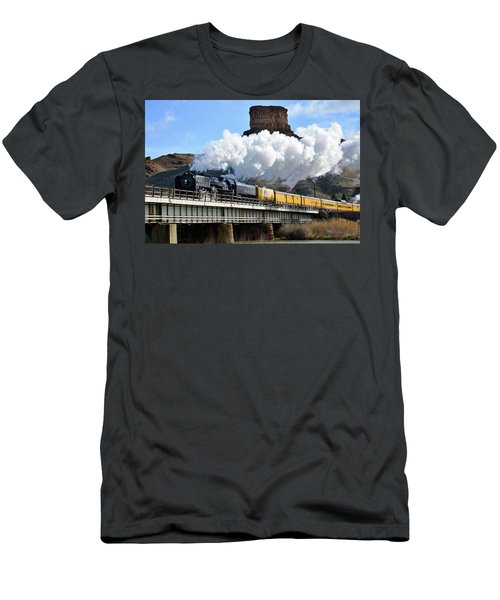 Union Pacific Steam Engine 844 And Castle Rock Men's T-Shirt (Athletic Fit)