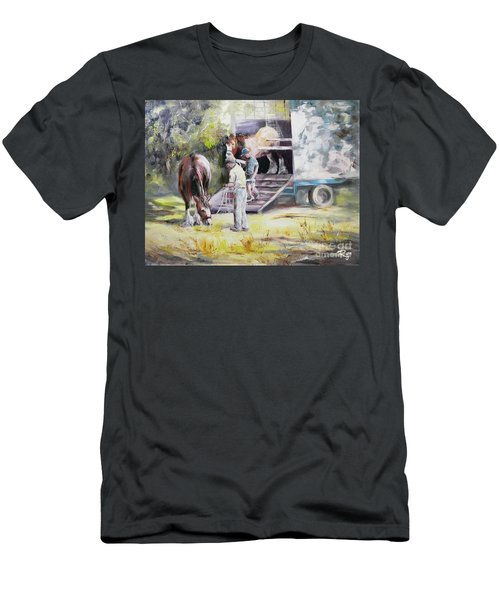 Men's T-Shirt (Athletic Fit) featuring the painting Unloading The Clydesdales by Ryn Shell