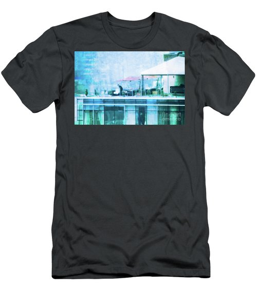 Men's T-Shirt (Slim Fit) featuring the digital art Up On The Roof - II by Mary Machare