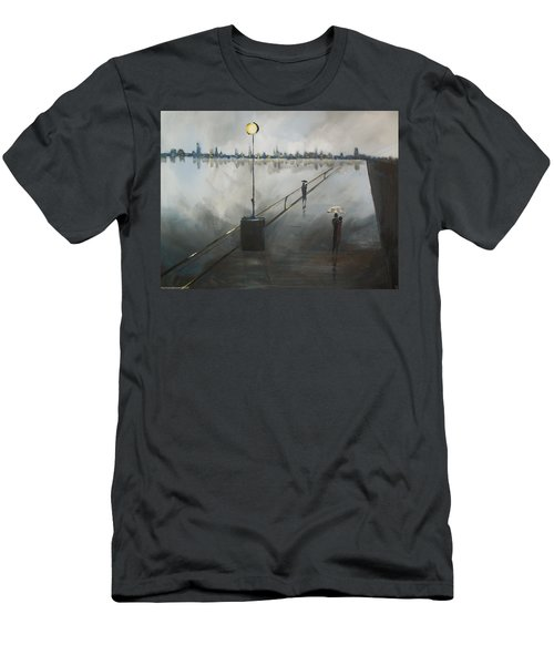Men's T-Shirt (Slim Fit) featuring the painting Upon The Boardwalk by Raymond Doward