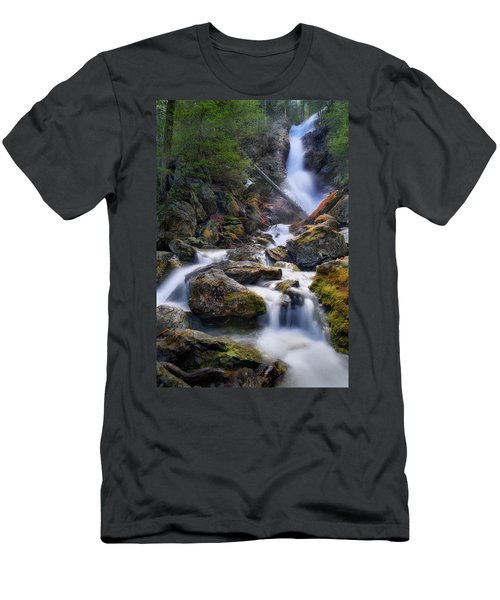 Men's T-Shirt (Slim Fit) featuring the photograph Upper Race Brook Falls 2017 by Bill Wakeley