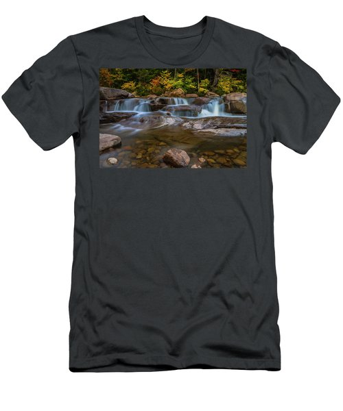 Men's T-Shirt (Slim Fit) featuring the photograph Upper Swift River Falls In White Mountains New Hampshire by Ranjay Mitra