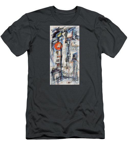 Men's T-Shirt (Slim Fit) featuring the painting Urban Street 1 by Mary Schiros