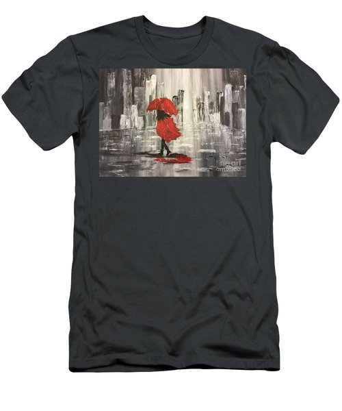 Urban Walk In The Rain Men's T-Shirt (Athletic Fit)