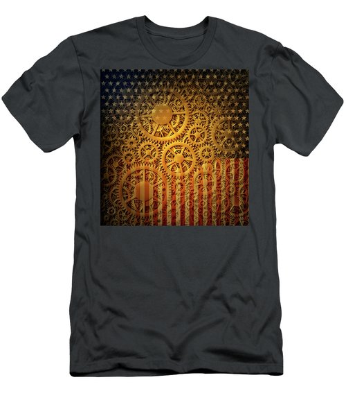 Us Flag And Gears Design Men's T-Shirt (Athletic Fit)