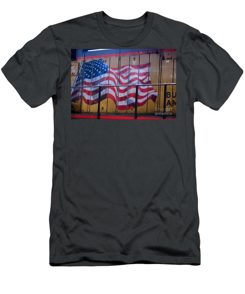 Us Flag On Side Of Freight Engine Men's T-Shirt (Athletic Fit)