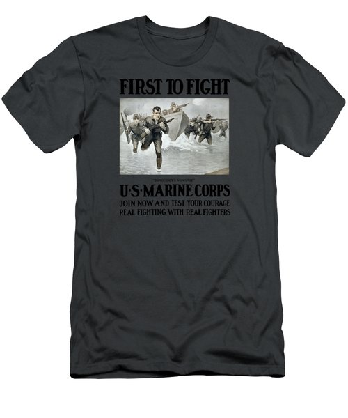 Us Marine Corps - First To Fight  Men's T-Shirt (Athletic Fit)