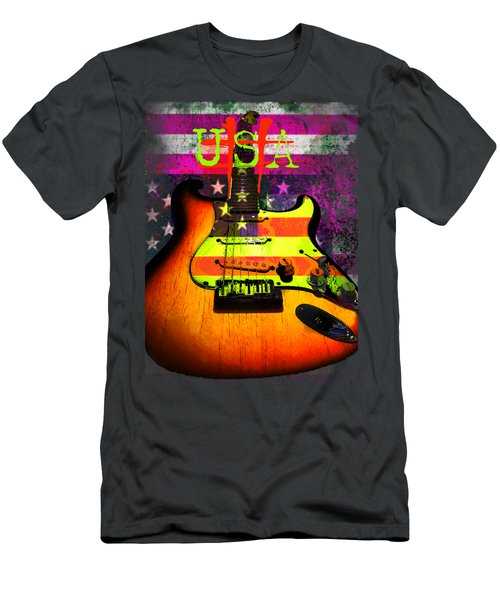 Usa Strat Guitar Music Men's T-Shirt (Athletic Fit)