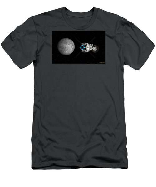 Men's T-Shirt (Slim Fit) featuring the digital art Uss Savannah Passing Earth's Moon by David Robinson