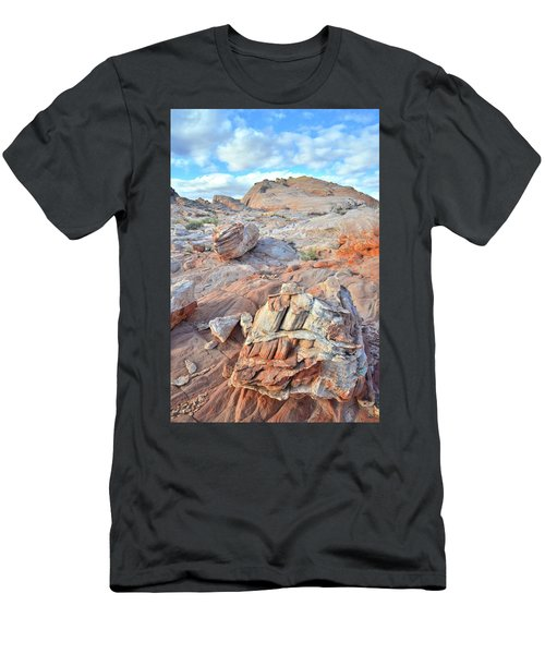 Valley Of Fire Boulders Men's T-Shirt (Slim Fit) by Ray Mathis