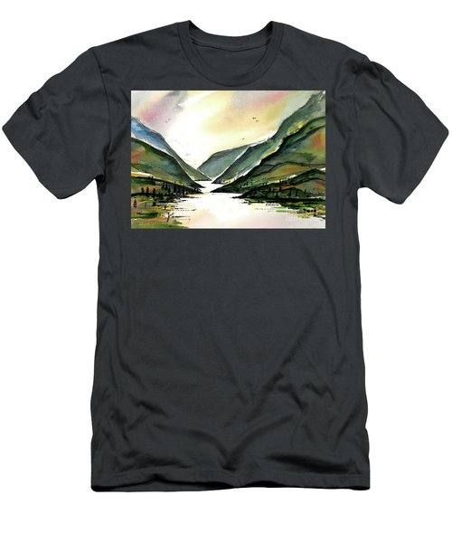 Men's T-Shirt (Slim Fit) featuring the painting Valley Of Water by Terry Banderas