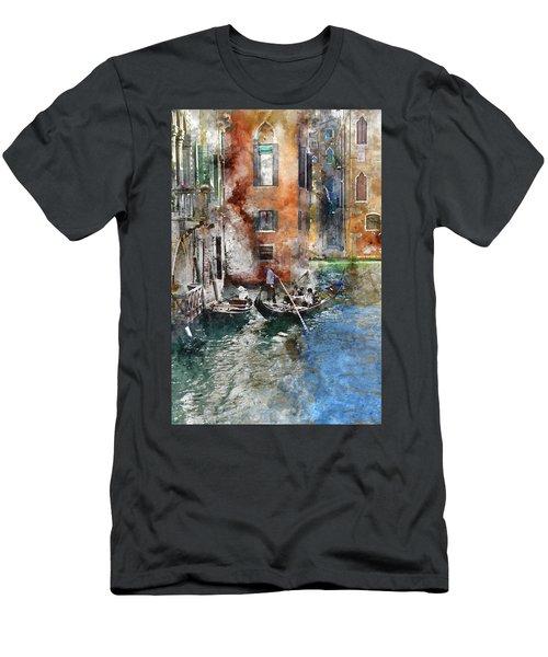 Venetian Gondolier In Venice Italy Men's T-Shirt (Athletic Fit)
