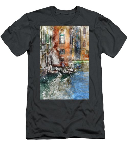 Venetian Gondolier In Venice Italy Men's T-Shirt (Athletic Fit)