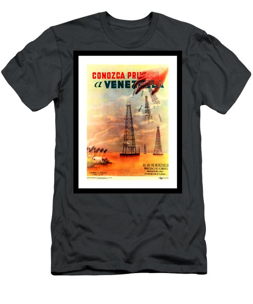 Venezuela Tourism Petroleum Art 1950s Men's T-Shirt (Athletic Fit)