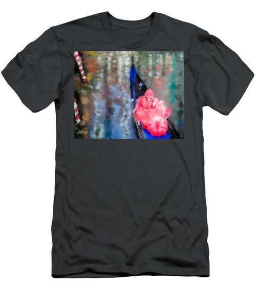 Venice Carnival. Masked Woman In A Gondola Men's T-Shirt (Athletic Fit)