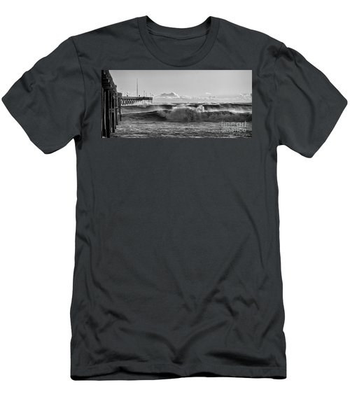 Men's T-Shirt (Slim Fit) featuring the photograph Ventura Pier El Nino 2016 by John A Rodriguez