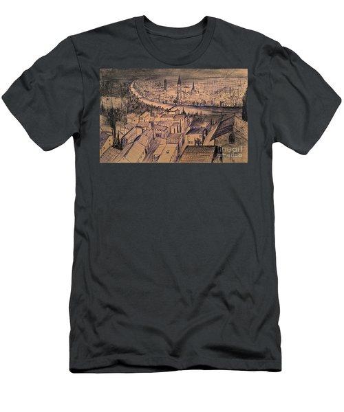 Men's T-Shirt (Slim Fit) featuring the drawing Verona Birdview Drawing by Maja Sokolowska