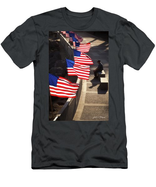 Veteran With Our Nations Flags Men's T-Shirt (Athletic Fit)