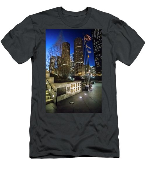 Veteran's Memorial On The Chicago Riverwalk At Dusk Men's T-Shirt (Athletic Fit)