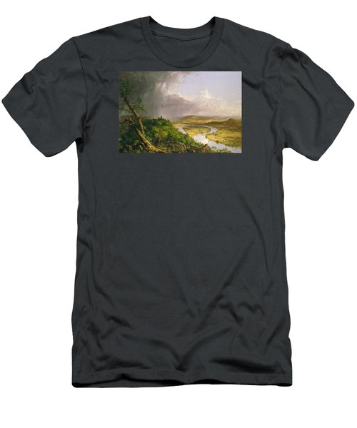 Men's T-Shirt (Slim Fit) featuring the painting View From Mount Holyoke Northampton Massachusetts After A Thunderstorm. The Oxbow by Thomas Cole
