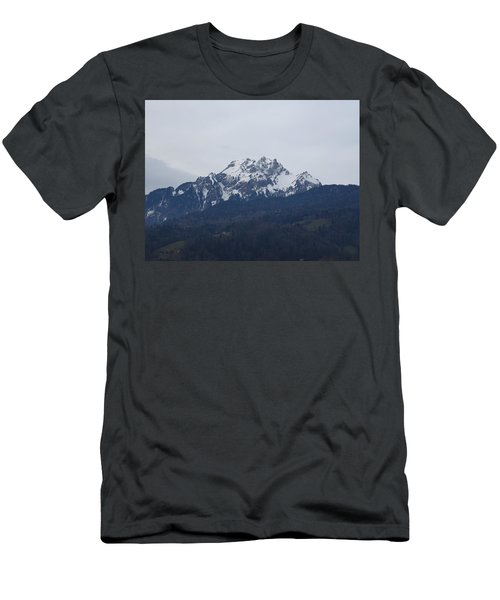 Men's T-Shirt (Athletic Fit) featuring the photograph View From My Art Studio - Pilatus - March 2018 by Manuel Sueess