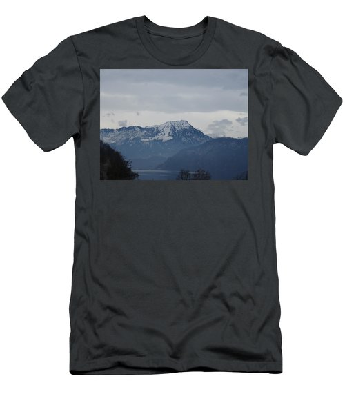 Men's T-Shirt (Athletic Fit) featuring the photograph View From My Art Studio - Stanserhorn - March 2018 by Manuel Sueess