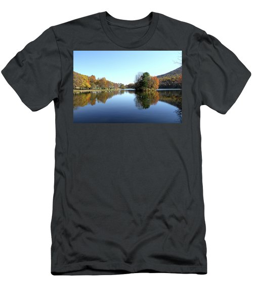 View Of Abbott Lake With Trees On Island, In Autumn Men's T-Shirt (Slim Fit) by Emanuel Tanjala