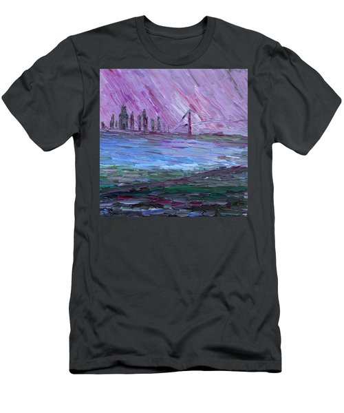 Men's T-Shirt (Athletic Fit) featuring the painting View On Manhattan by Vadim Levin