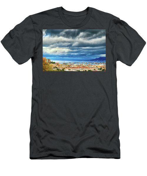 Men's T-Shirt (Athletic Fit) featuring the photograph View Of Messina Strait Sicily With Dramatic Sky by Silvia Ganora