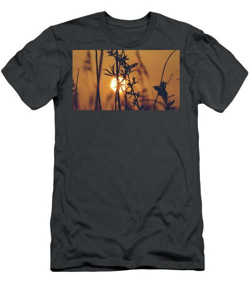 View Of Sun Setting Behind Long Grass D Men's T-Shirt (Athletic Fit)