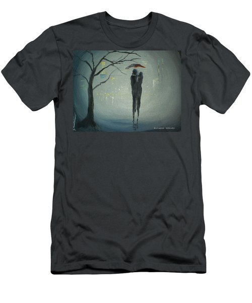 Men's T-Shirt (Slim Fit) featuring the painting View Of The City by Raymond Doward