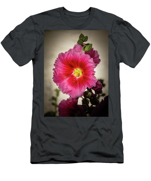 Vignetted Hollyhock Men's T-Shirt (Athletic Fit)