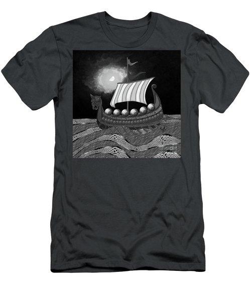 Men's T-Shirt (Athletic Fit) featuring the digital art Viking Ship_bw by Megan Dirsa-DuBois