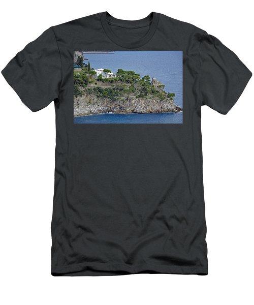 Villa Owned By Sophia Loren On The Amalfi Coast In Italy Men's T-Shirt (Slim Fit) by Richard Rosenshein