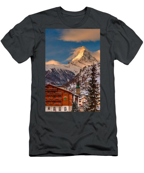 Village Of Zermatt With Matterhorn Men's T-Shirt (Athletic Fit)