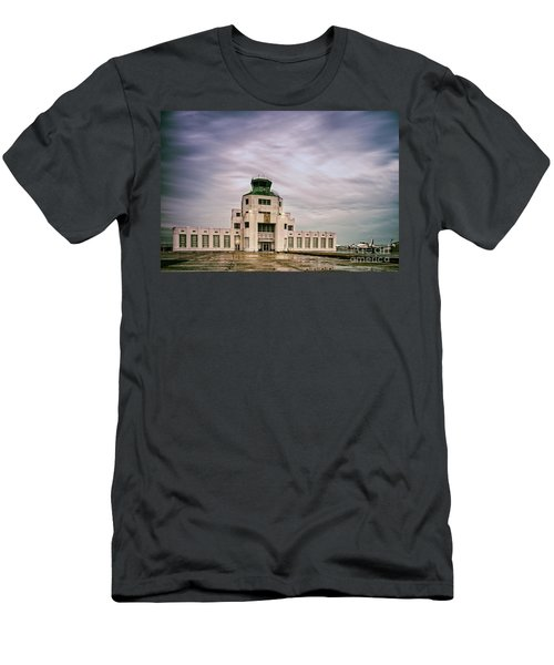 Vintage Architectural Photograph Of The 1940 Air Terminual Museum - Hobby Airport Houston Texas Men's T-Shirt (Athletic Fit)
