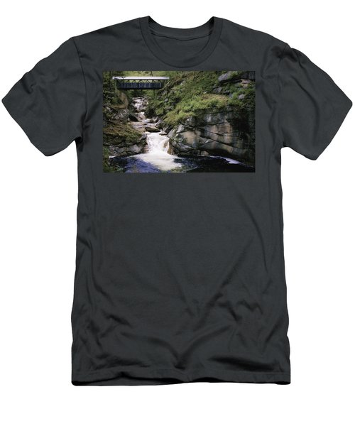 Vintage Covered Bridge And Waterfall Men's T-Shirt (Slim Fit) by Jason Moynihan