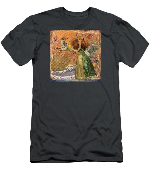Vintage Golden Woman Capricorn Gothic Whimsical Collage Men's T-Shirt (Slim Fit) by Mary Hubley