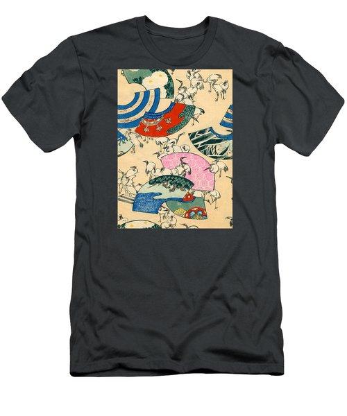 Vintage Japanese Illustration Of Fans And Cranes Men's T-Shirt (Slim Fit)