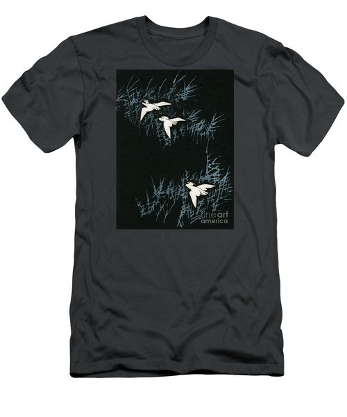 Vintage Japanese Illustration Of Three Cranes Flying In A Night Landscape Men's T-Shirt (Slim Fit) by Japanese School