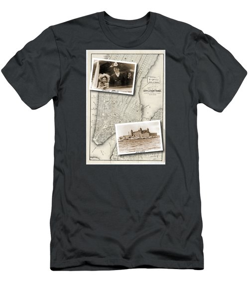 Vintage New York Map With Ellis Island Men's T-Shirt (Athletic Fit)