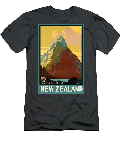 Vintage New Zealand Travel Poster Men's T-Shirt (Athletic Fit)