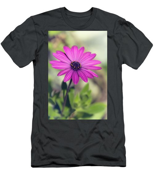 Men's T-Shirt (Slim Fit) featuring the photograph Vintage Purple Daisy  by Saija Lehtonen