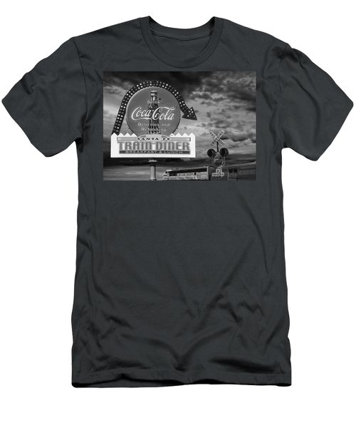 Vintage Sign In Black And White For A Classic Train Diner Men's T-Shirt (Athletic Fit)